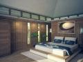 Chambre à coucher avec salle de bain en arrière plan